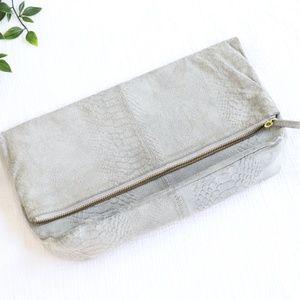 Grey Leather Top Shop Suede Clutch
